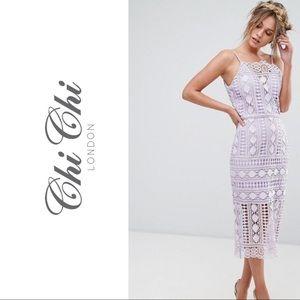 Asos Chi Chi London Lavender Midi Lace Dress